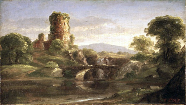 http://commons.wikimedia.org/wiki/File:Brooklyn_Museum_-_Ruined_Castle_and_River_-_Thomas_Cole_-_overall.jpg