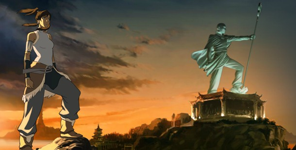 Statues of benders from The Last Airbender can be seen in Republic City