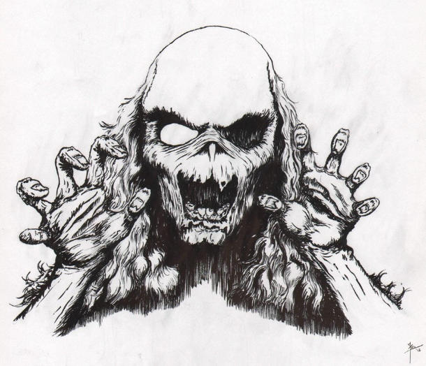 black and white zombie drawing