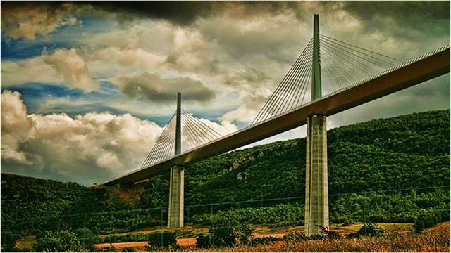 This cable-stayed bridge is located in the South of France, and, at a maximum height of 343 meters (1,125 feet), is the tallest bridge in the world.