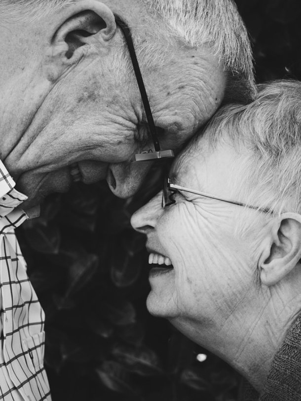 old couple laughing together