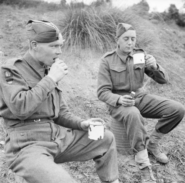 soldiers drinking tea