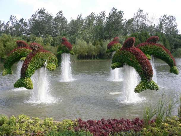 www.crazywebsite.com Olympic-Gardens-China-2008-Topiary-Dolphins-Fountain-01