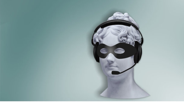 telemarketer image...statue head with phone headset and an eye mask
