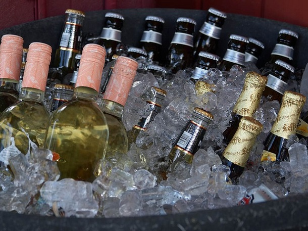 Beer and wine on ice