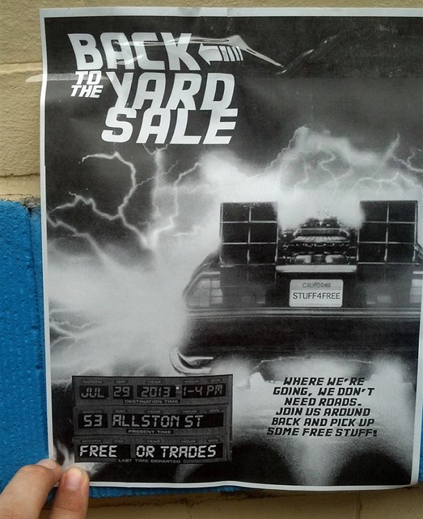 back to the future yard sale sign