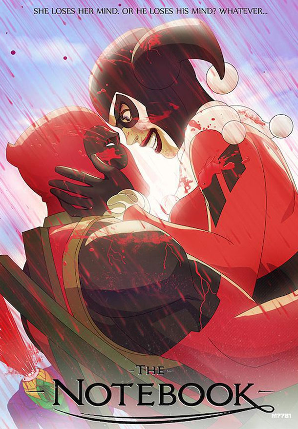 Deadpool and Harley Quinn the Notebook