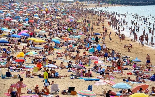 beach with large crowd