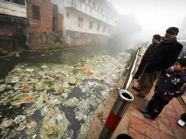 contaminated river the city of Zhugao in Sichuan Province