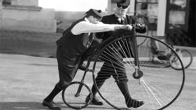 Because the pedals were attached directly to the front wheel, bicycle makers realized that the larger they made that wheel, the farther you could go with each pedal