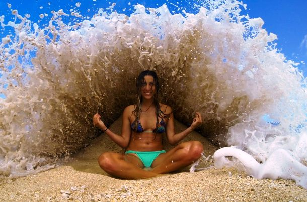 girl hit by wave