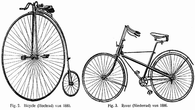 In the 1880s, the safety bicycle replace the penny-farthing as the most popular bike