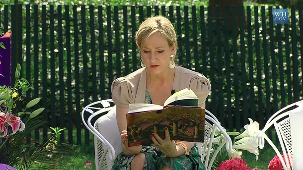 J._K._Rowling_at_the_White_House reading Harry Potter