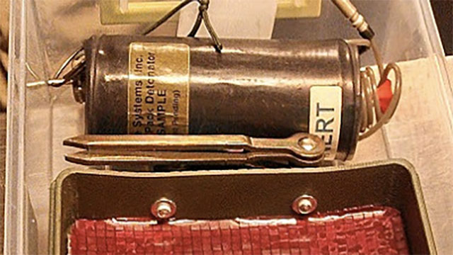 This inert Claymore landmine found in a checked bag at Las Vegas McCarran International Airport