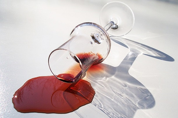 red wine glass spill