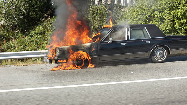 Cars are always engulfed in flames when they crash