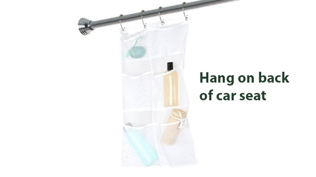 You can used a shower organizer to travel with kids by hanging it over the back of the seat