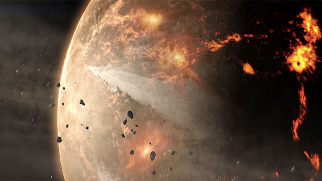 The pieces came from meteorites that struck Mars, ejected pieces into orbit around the sun, and then after millions of years they crashed into the Earth