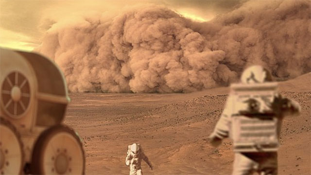 Mars has the biggest dust storms in the solar system. They can last for months and cover the entire planet