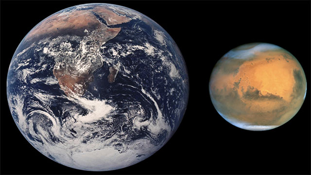 Mars is approximately half the size of the Earth