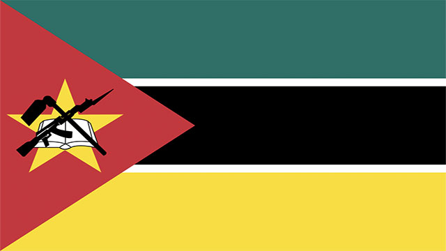 The flag of Mozambique has an AK-47 on it.