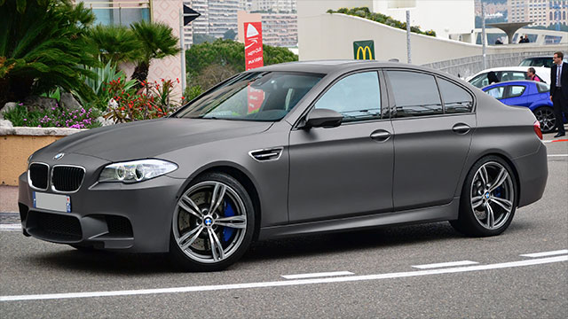 The BMW M5 engine is so quiet that fake engine sounds are played through the speakers so as to remind drivers of the vehicle's performance
