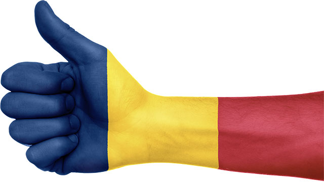 The flags of Romania and Chad differ only in the tone of blue that they use