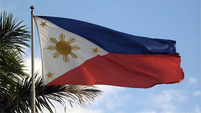 During peacetime the flag of the Philippines is flown with the blue stripe on top, but during war it is flown upside down, with the red stripe facing up