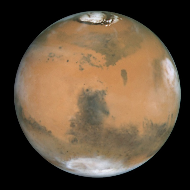 Mars_and_Syrtis_Major showing polar ice caps