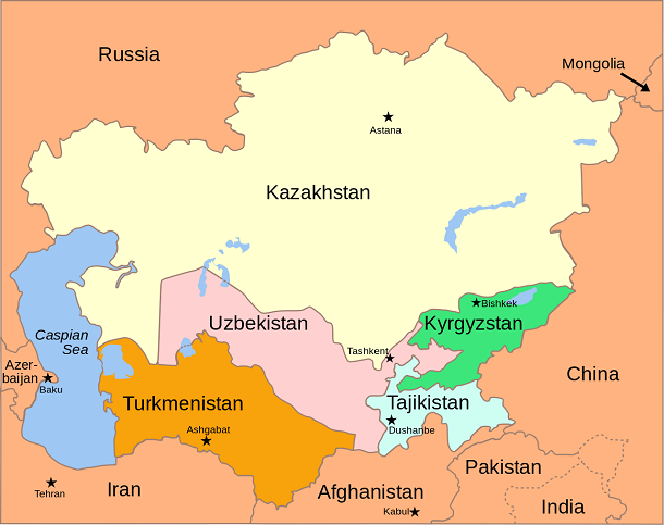 central asia map 2008