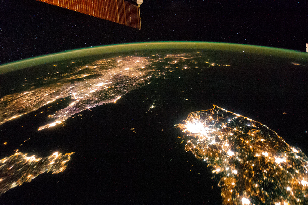 south korea from space at night with lights