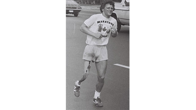 Terry Fox, a 21 year old Canadian who had lost his leg to cancer ran all the way across Canada in order to raise cancer awareness. He died shortly afterwards when the cancer spread to his lungs