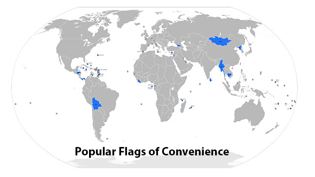 """Many ships fly """"flags of convenience"""". This means that they register in whatever country has the most lax and favorable laws. This is also why they are less regulated than most other industries (as we mentioned earlier)"""