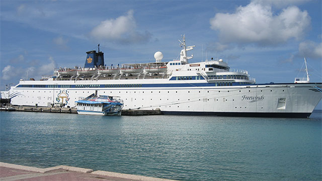 The first ever cruise ship built in the country of Finland (MV Freewinds), is now owned by the Church of Scientology