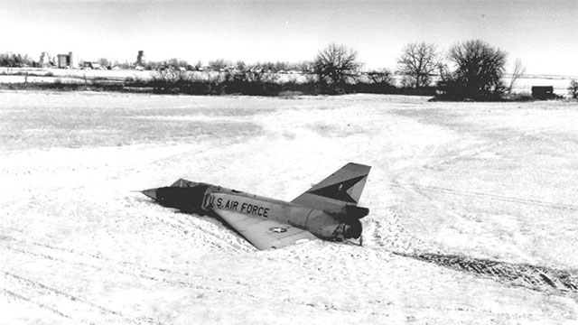 """In 1958, a pilot ejected from his F-106 when it entered a flat spin. He was surprised to see it come out of the spin and land itself in a cornfield. Today, the plane is known as the """"cornfield bomber"""""""
