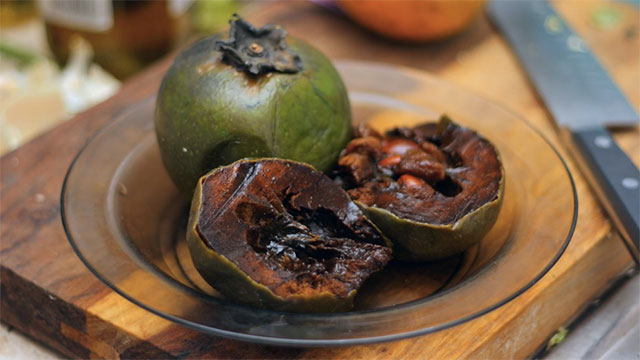 Black Sapote, or chocolate pudding fruit, is a fruit that tastes like chocolate but has 4 times more vitamin C than a regular orange