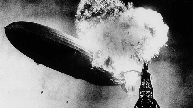 Nearly two thirds of the people on the Hindenburg survived went it turned into a fireball over New Jersey