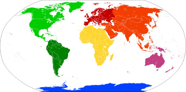 The distribution of continents