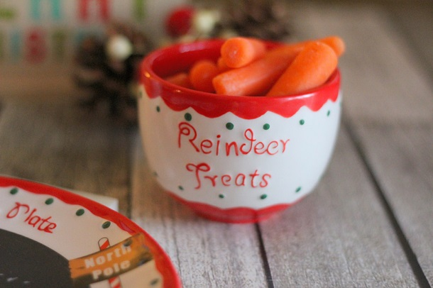 carrots in a bowl as reindeer treats