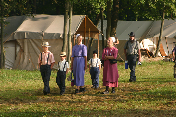 amish family on a stroll
