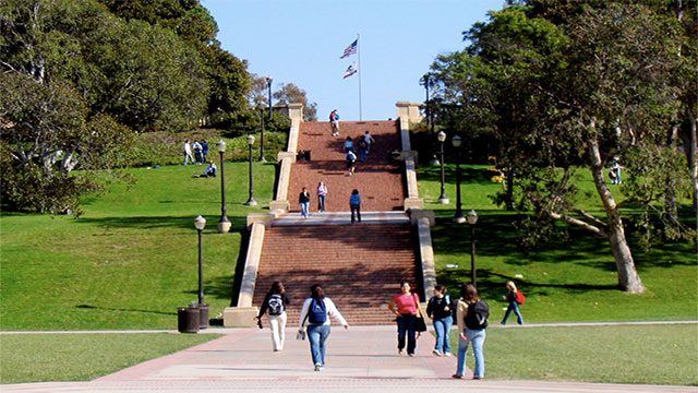 UCLA (University of California in Los Angeles) has the highest percentage of foreign students while New York University in NYC comes second