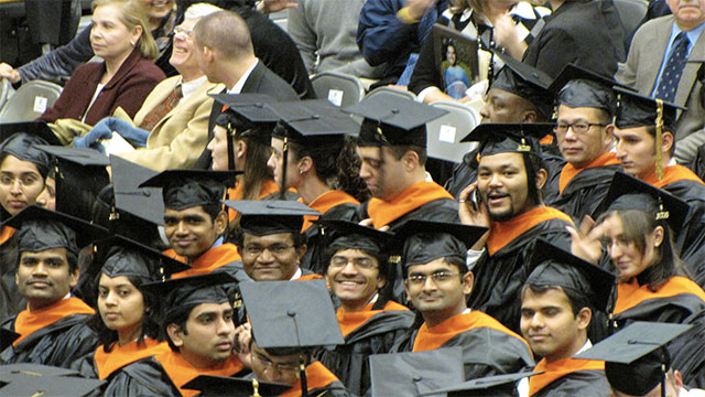 Most foreign students come from India, China, and South Korea