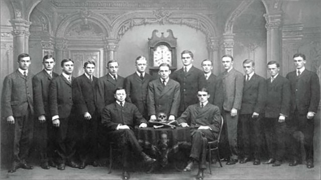 The Skull and Bones Society is a secret society at Yale that boasts many famous former members. Among them are numerous politicians and presidents (George Bush, William Taft, John Kerry)