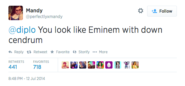 You look like Eminem with down cendrum