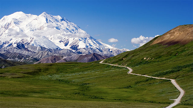 17 of the 20 highest mountains in the United States are in Alaska. This includes Denali, the highest peak in North America. It is 20,320 feet high (6,194 meters).