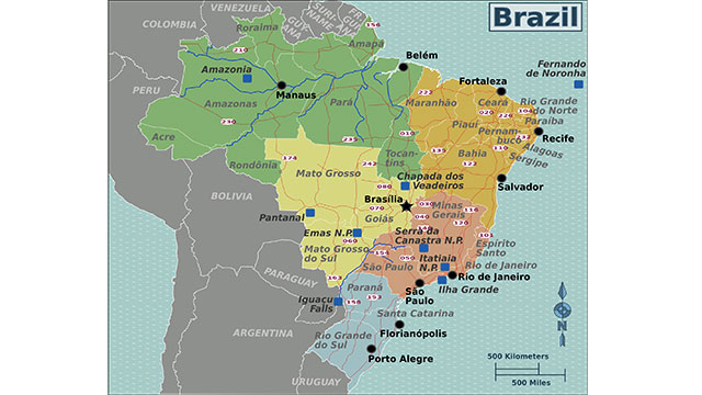 Except for Ecuador and Chile, Brazil borders every country in South America