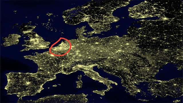 """Belgium is lit up more brightly at night than almost any other country due its dense highway network being nearly 100% illuminated. In fact, NASA astronauts even call it the """"Belgian Window"""" because of how it looks from space."""