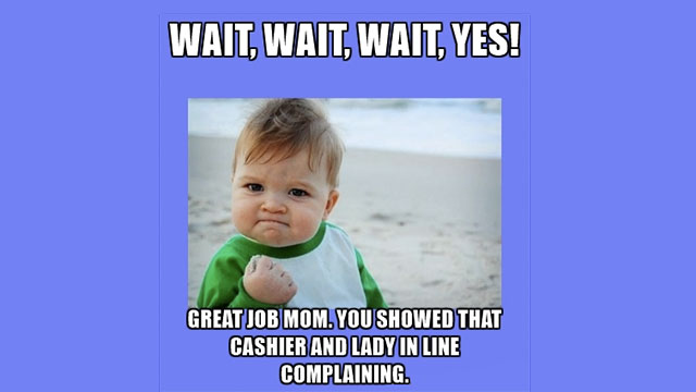 Complaining to the cashier about the price