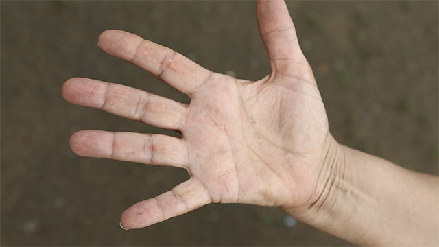 The first finger of a females hand is usually longer than the third. With males, it's usually the other way.