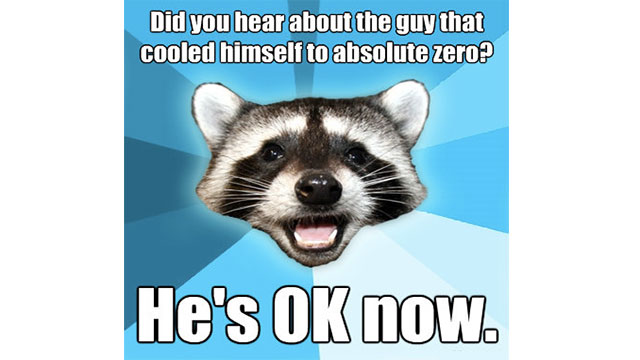 Did you know that at absolute zero you would be 0K?